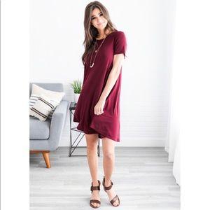 Dresses & Skirts - ANISA HIGH LOW SMALL POCKET DRESS! WINE! LAST 1!